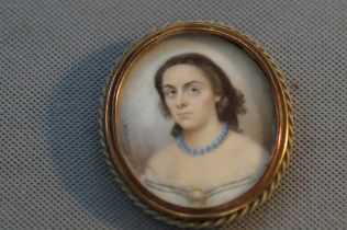 18/Early 19th century miniature portrait of a lady