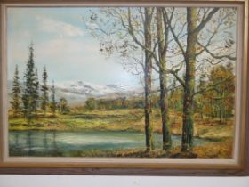Large oil on canvas, river & mountain scene, signe