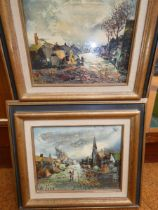 2x Small oil on canvas, village scenes signed Salv