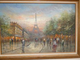 Large oil on canvas Paris scene 75 x 104 cm