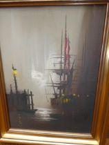 Barry Hilton oil on canvas boat yard scene 49 x 40