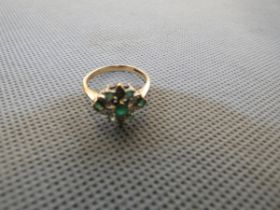 9ct Gold ring set with diamond & emeralds Size N