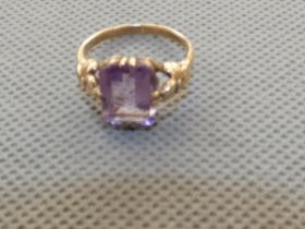 9ct Gold & amethyst ring Size M