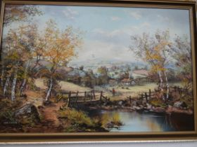 Oil on canvas country scene signed J Corcoran. 56