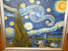 Oil on canvas copy of a Van Gogh 60 x 70 cm includ