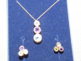 9ct Gold chain pendant with matching earrings, mul