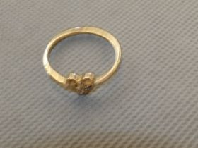 9ct Gold ring set with solitaire diamond Size R