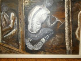 Oil on canvas coal miners unsigned 44 x 59 cm incl