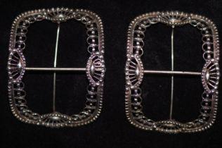 Pair of silver shoe buckles, regency
