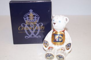 Royal Crown Derby alphabet bear E with gold stoppe