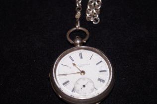 Silver pocket watch & chain