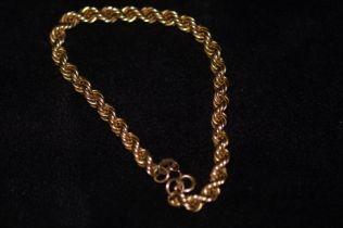 9ct Gold rope wrist chain