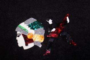 2 Art deco brooches