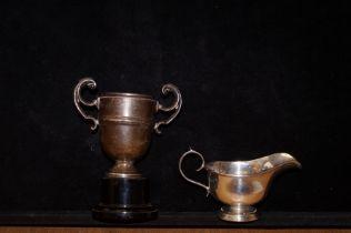 Silver trophy & silver gravy boat