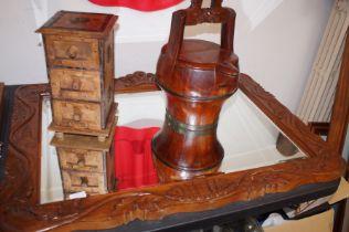 Large carved wood framed mirror, set of 3 spice dr