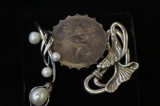 2x Silver & 1 white metal pin brooches