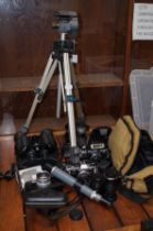 Collection of vintage cameras, binoculars & others
