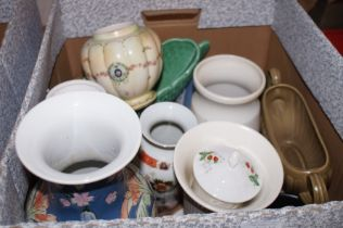 Box of ceramics to include Wedgwood & Crown Devon
