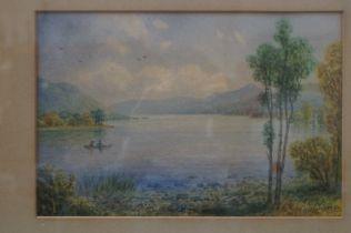 Victorian watercolour dated 1893 'Coniston lake' s