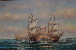 Oil on board battleship scene signed H Melville 58