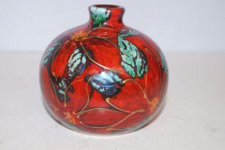 Anita Harris poinsettia vase signed in gold