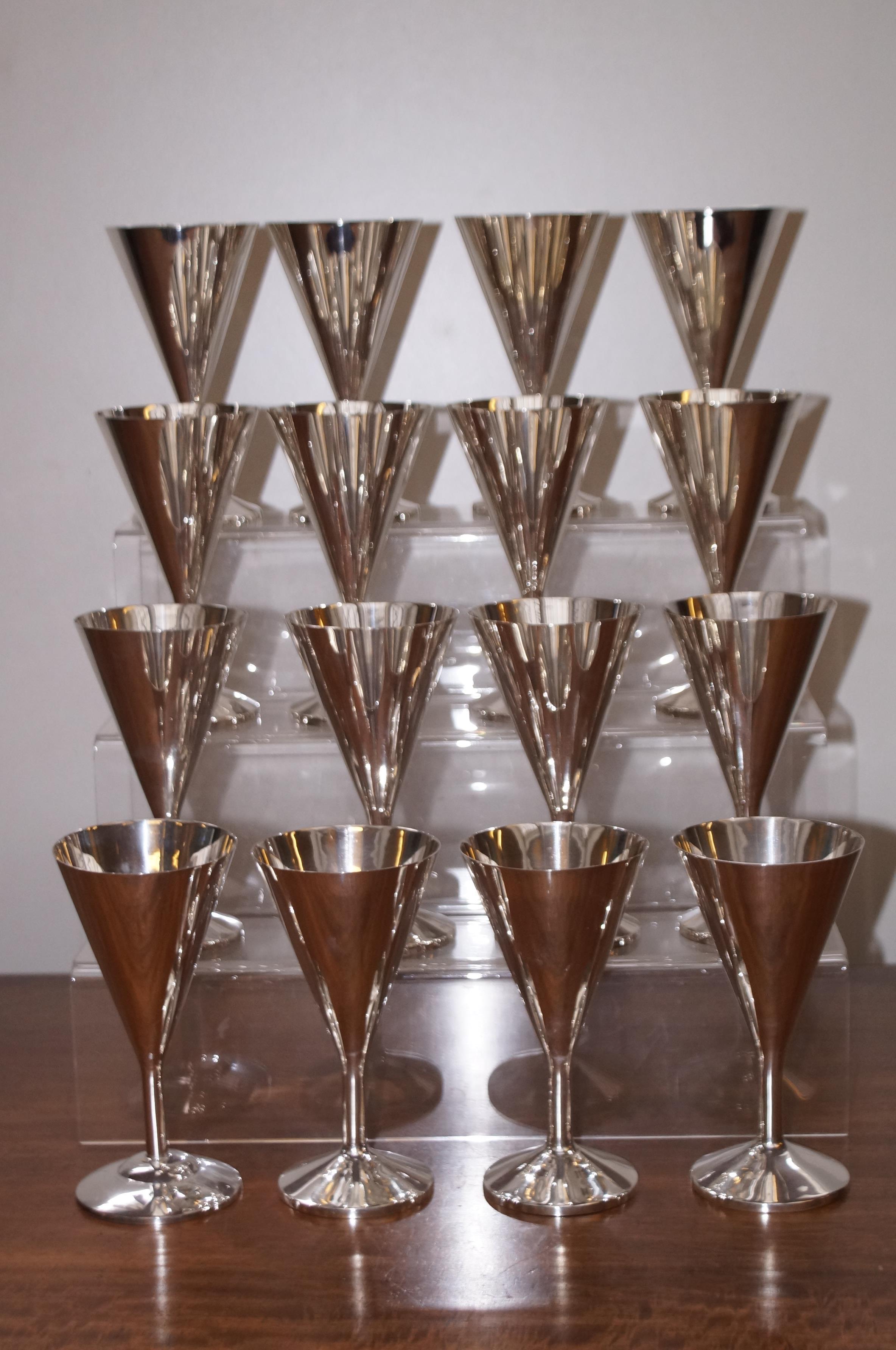 "16 Silver goblets. Each goblet stamped ""Silver"" Ea"
