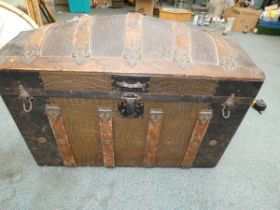 19th Century Steamer Trunk with original paper lin