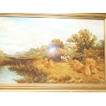 Large Oil on Board Country Farming Scene Signed Si