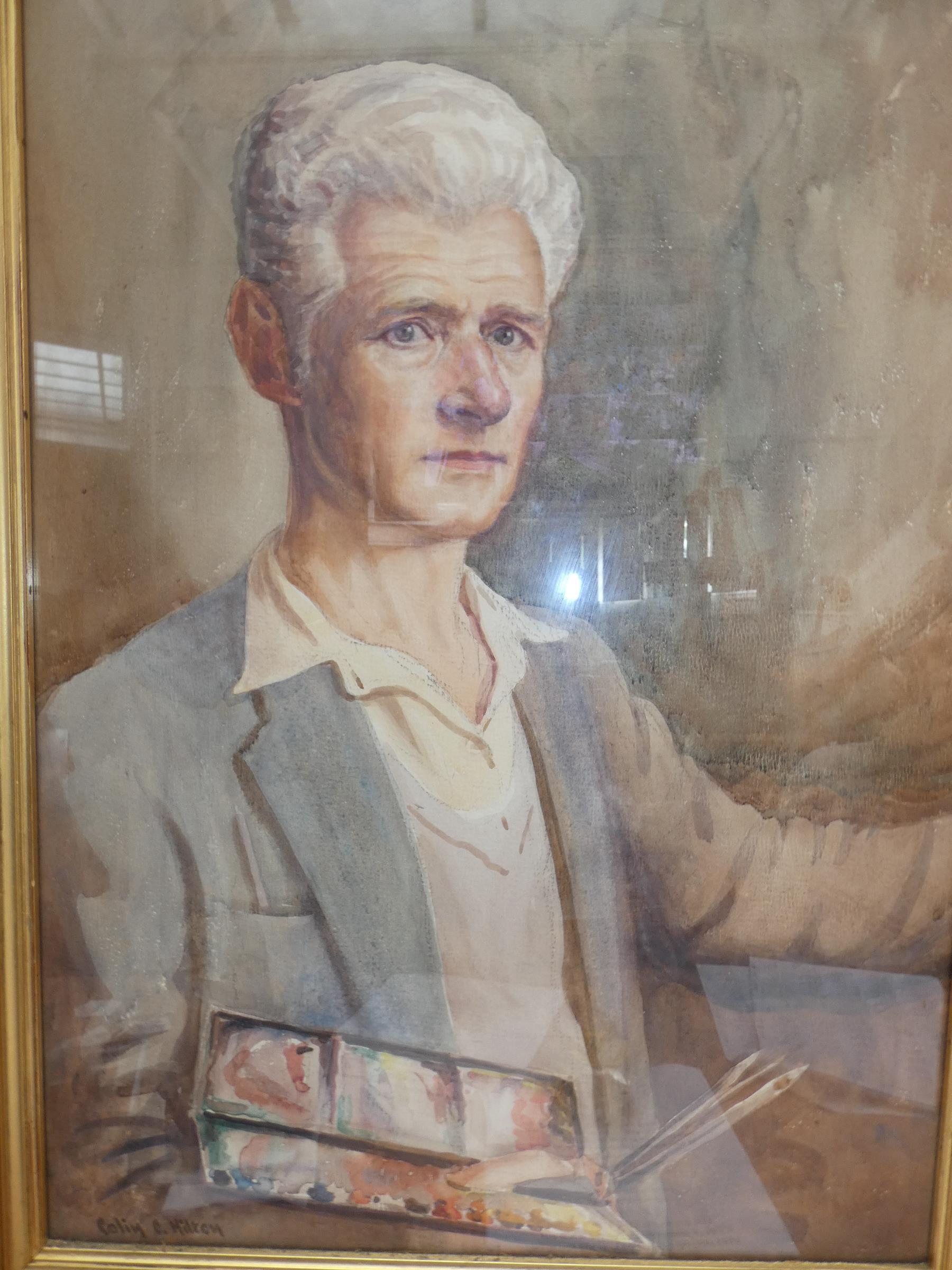 Watercolour of Colin Clough Hilton Self Portrait B