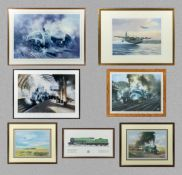 Seven framed prints depicting planes and trains