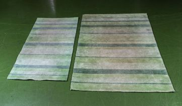 Two green striped rugs, 120cm x 180cm and 80cm x 150cm