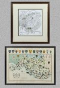 Two framed maps, The Borders 30 x 27 and Glamorgan 37cm x 50cm