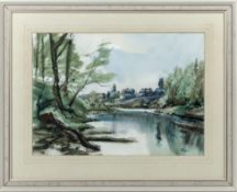 A framed watercolour entitled Tweed at Coldstream Spring 1982, signed Jim Page, image size 27cm x
