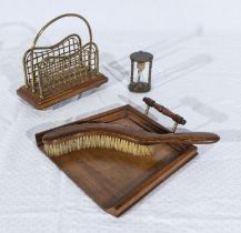 A small vintage letter rack, crumb tray and brush and an egg timer