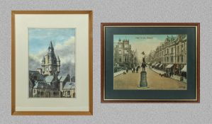 A framed watercolour of the town hall clock Hawick signed RE Scott 39cm x 26cm together with a print