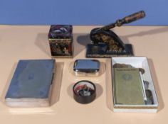 An embosser press (Post Office House, Coldstream), cigarette box, stamp holder, coins and other