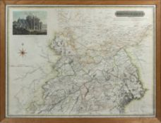 A framed map of the Northern part of Roxburghshire with a vignette of Melrose Abbey, engraved by N R