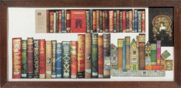 A framed collage of Christmas book spines, 33cm x 69cm