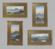 Four gilt framed watercolours depicting scenes of the Sottish Highlands, image size 14.5cm x 30cm