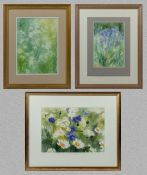 Three framed watercolours of flowers signed Vivian Grant, 26cm x 19cm and two at 28.5cm x 20cm
