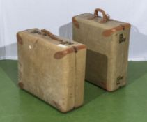Two vintage suitcases, 58cm x 48cm and 48cm x 52cm and 20cm deep