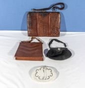 Two vintage leather handbags and two evening bags