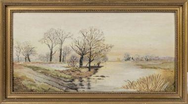 A framed oil on board depicting a river scene, signed J Reynolds 1913, Image size 17cm x 35cm