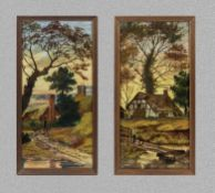 A pair of framed painted pottery tiles depicting rural scenes