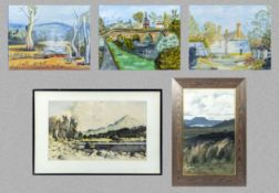 Three unframed watercolours 40cm x 50cm signed Judy Sanders together with a framed oil on board 45cm