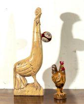 Two wooden cockerel figures