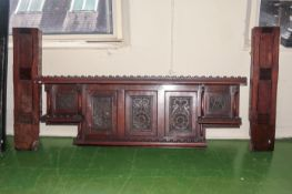 Part carved wood fire surround Victorian.