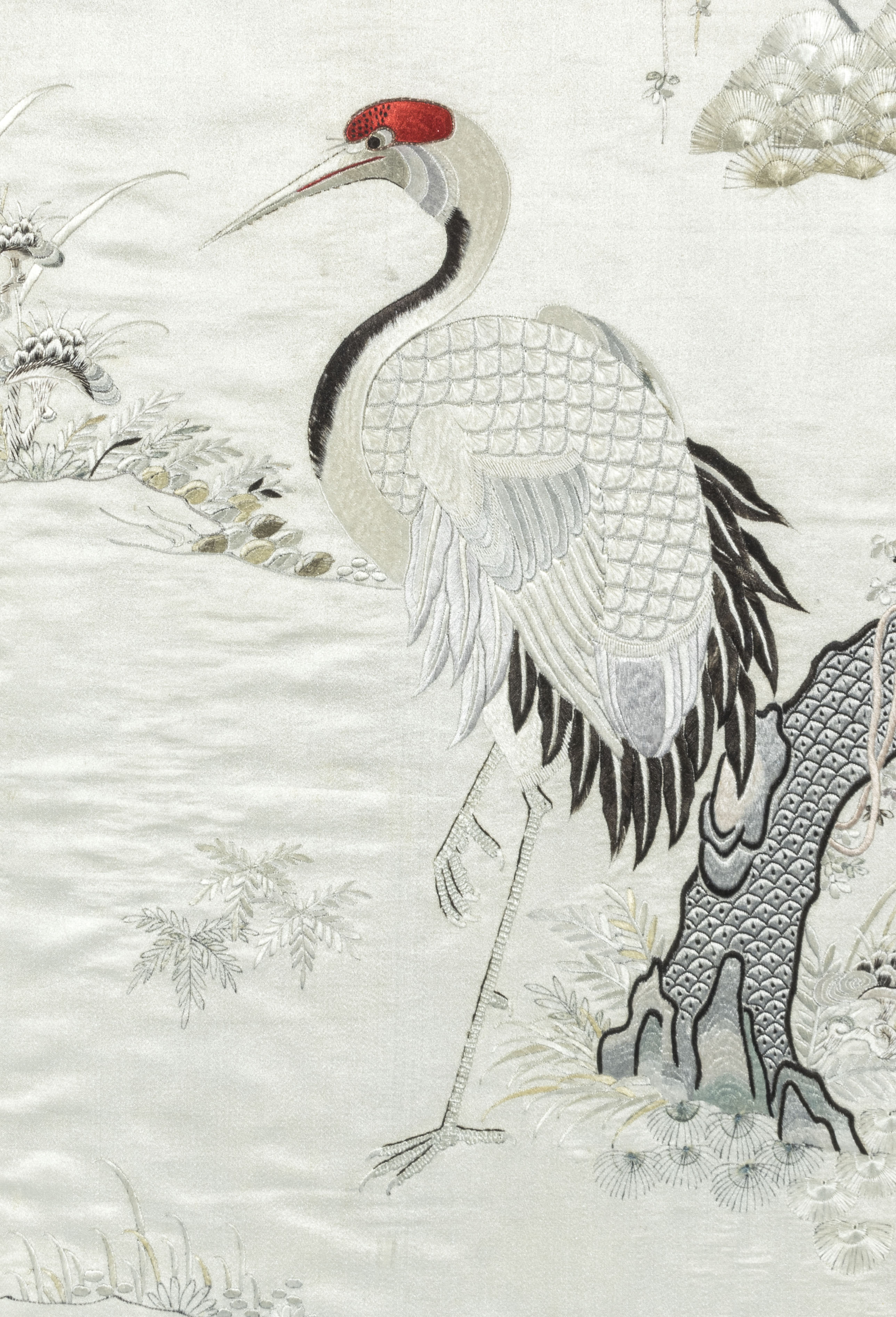 A framed Chinese silk scroll embroidered with 110cm x 40cm - Image 3 of 4