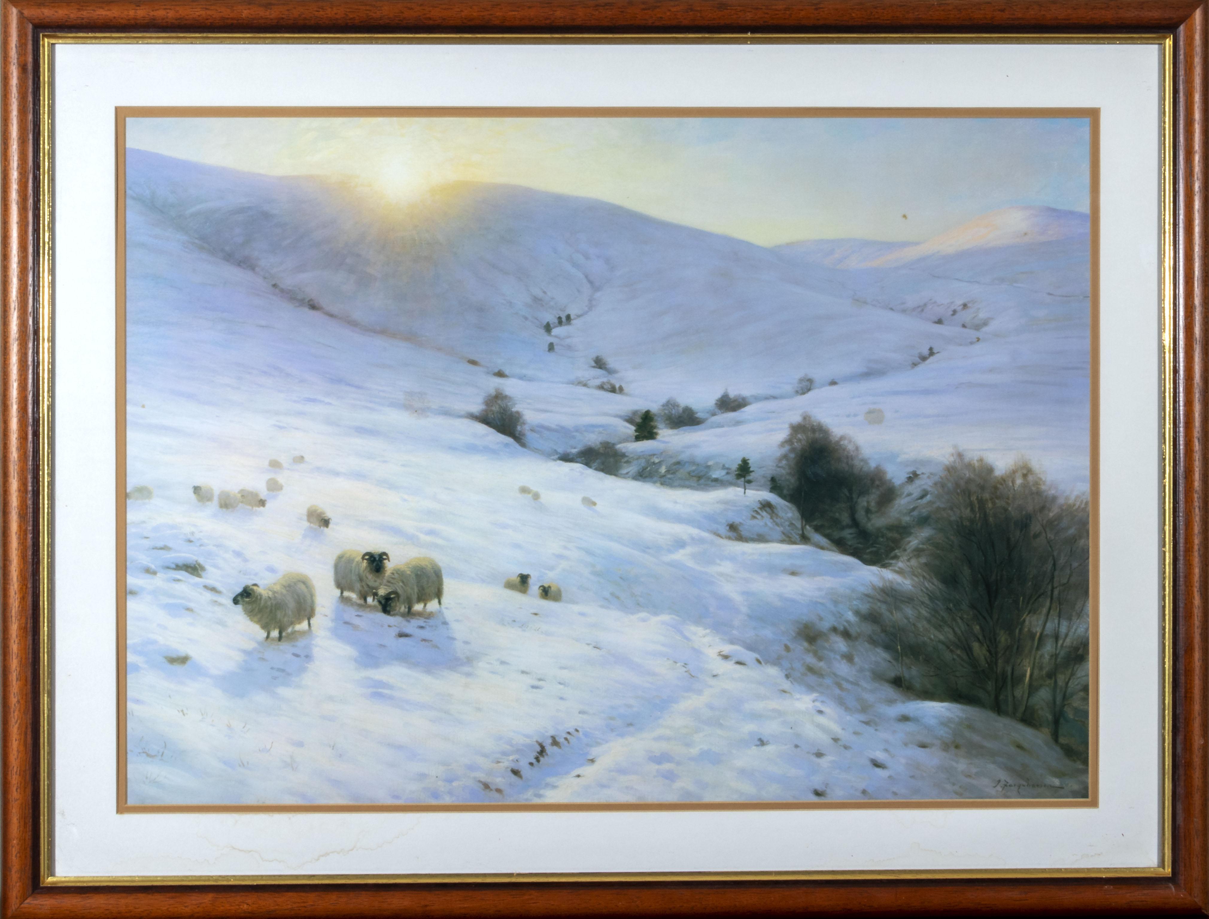 J Farquharson - A large gilt framed print 'Over Yonder Hills' 66cm x 86cm