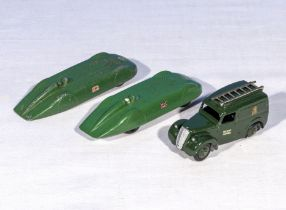 Dinky die cast models, Post Office Van, Bluebird and an MG Record car/Meccano
